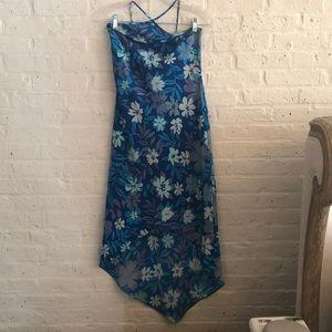 Express blue & green flower high low summer dress